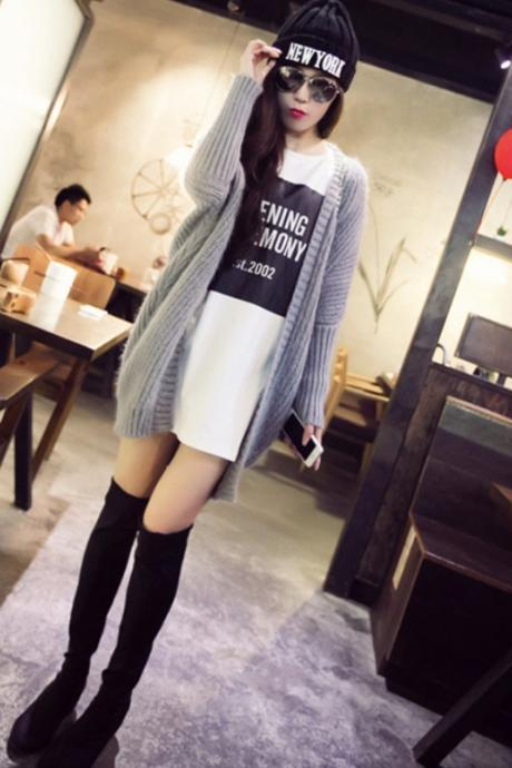 Grey Autumn Winter Women Knitting Cardigan Fashion Sweater