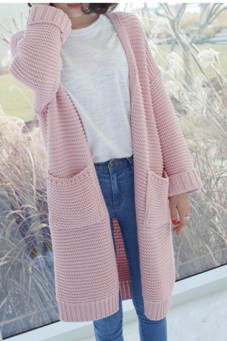 Pink Knitted Sweater Women Knit Cardigan Long Knitting Coat