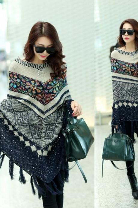 Knitting Sweater Top Dolman Batwing Sleeve Tassel Knit Coat