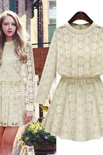 Solid Lace Flower Geometry Round Neck Long Sleeve Dress