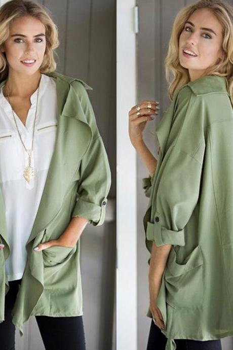 Fashion Women's Casual Slim Long Coat Jacket Trench Outwear Cardigan Blazer Top