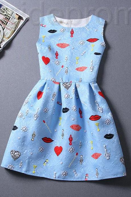 Short Retro Printing Patterns Women's Clothing Sleeveless Casual Dress YHD2-14 Size S M L XL