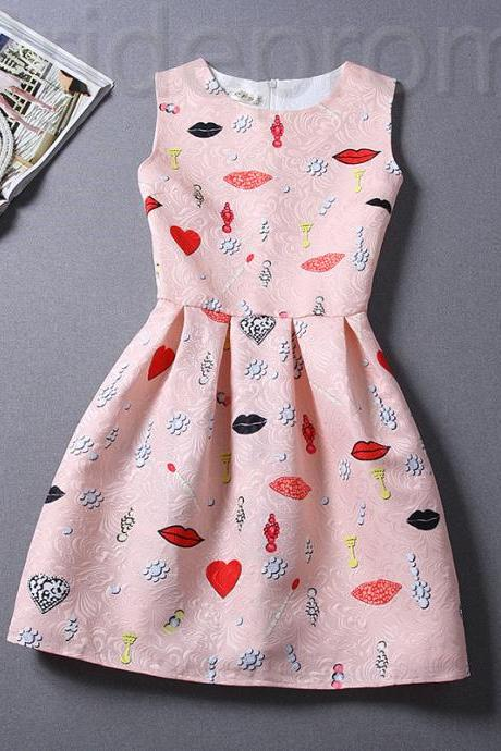 Short Retro Printing Patterns Women's Clothing Sleeveless Casual Dress YHD2-15 Size S M L XL