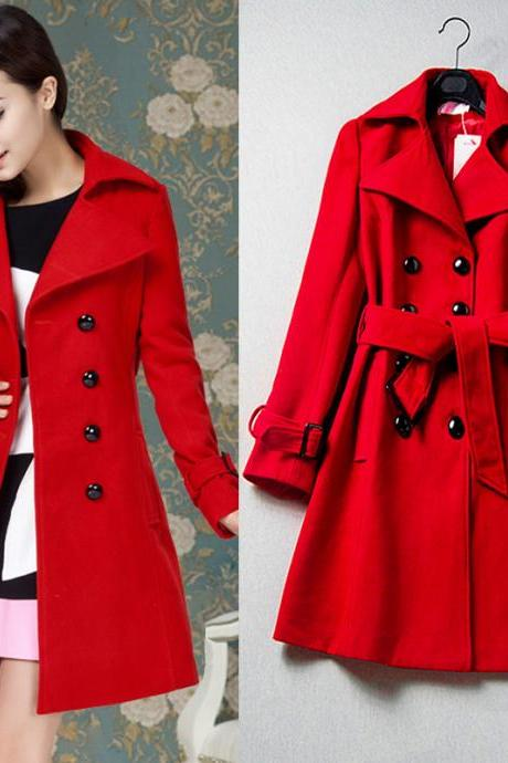 High Quality Button Wool Coat With Belt - Red