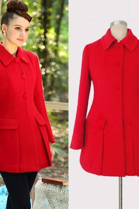 Luxury New Red Wool Coat