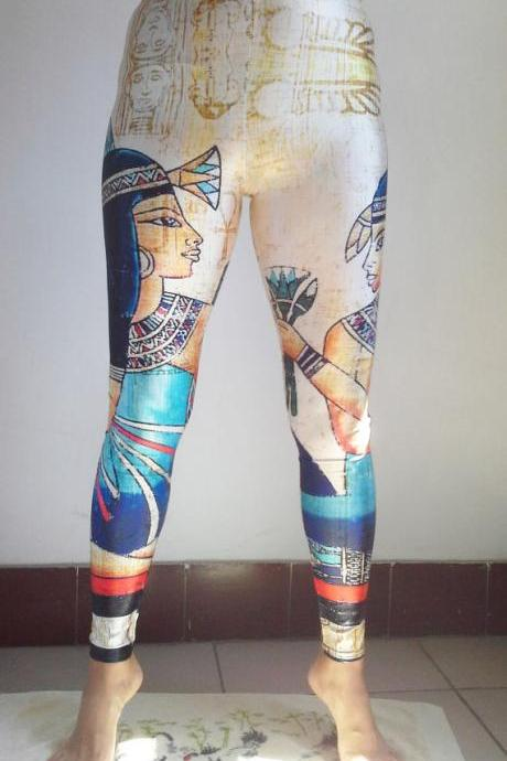 CLEOPATRA EGYPT LEGGINGS Printed Cool Leggings/ Sports pants/ Designed Leggings/ Women Stretch Leggings/ Yoga Tights / Yoga Leggings