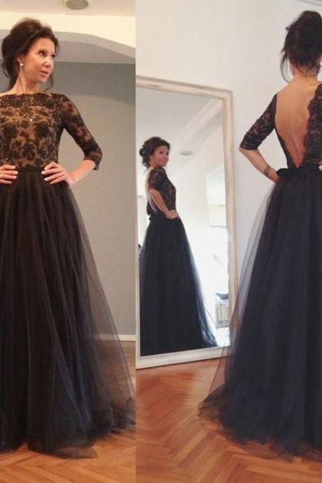 Lace sleeves prom dress,long prom dress,Round Neck Long Prom Dresses L300