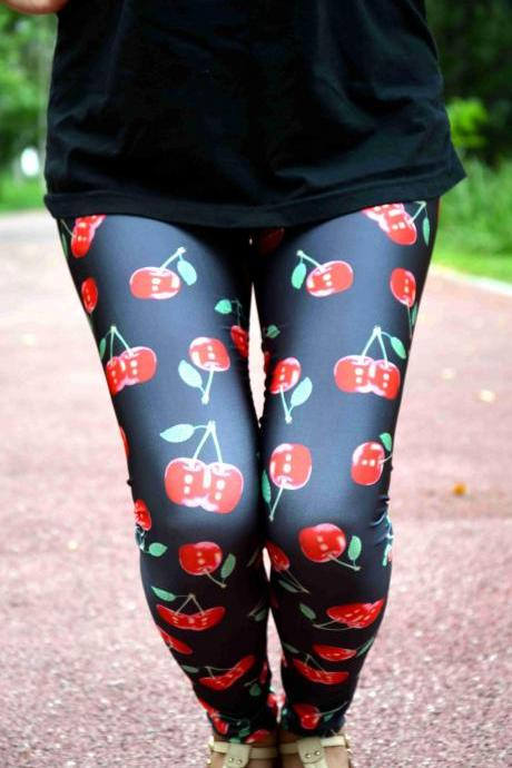Cherry Leggings/ Sports Pants/ Designed Leggings/ Women Stretch Leggings/ Yoga Tights / Yoga Leggings
