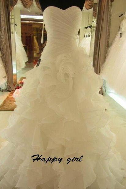 New Weddding Dresses, Strapless Wedding Dresses, Ruffles Wedding Dresses, A-Line Wedding Dresses, Court Wedding Dress, White Wedding Dresses, Sweetheart Wedding Dresses, Custom Wedding Dresses
