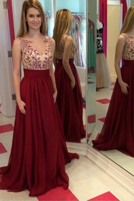 Full Length Burgundy Prom Dress,Long Burgundy lace Prom Dress,Burgundy Bridesmaid Dress
