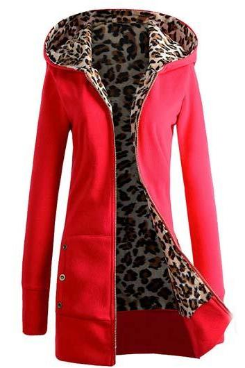 Fashion Hooded Collar Button Decorated Sweat - Red