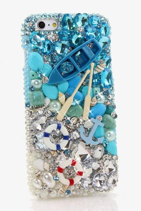 Bling Crystals Phone Case for iPhone 6 / 6s, iPhone 6 / 6s PLUS, iPhone 4, 5, 5S, 5C, Samsung Note 2, Note 3, Note 4, Galaxy S3, S4, S5, S6, S6 Edge, HTC ONE M9 (PADDLE AWAY DESIGN) By LuxAddiction