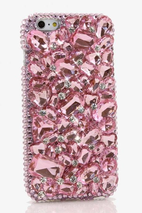 Bling Crystals Phone Case for iPhone 6 / 6s, iPhone 6 / 6s PLUS, iPhone 4, 5, 5S, 5C, Samsung Note 2, Note 3, Note 4, Galaxy S3, S4, S5, S6, S6 Edge, HTC ONE M9 (PINK STONES DESIGN) By LuxAddiction