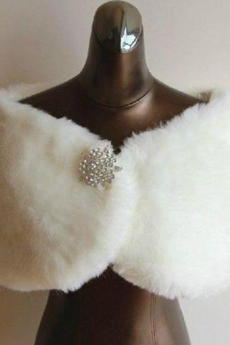 Fashion Ivory White Faux Fur Wedding Shawl Winter Outerwear Bridal Wrap Shrug Jacket