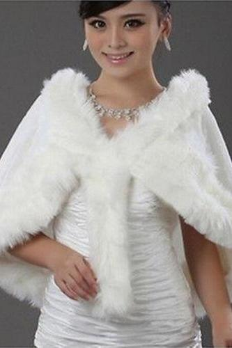 HOT Ivory Plush Faux Fur Bridal Wedding Jacket Cape Wrap Shrug Bolero Shawls