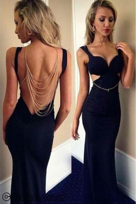 Black Prom Dresses,Mermaid Prom Dress,Sexy Prom Gown,Long Prom Gown,Backless Evening Dress,Open Backs Evening Gowns