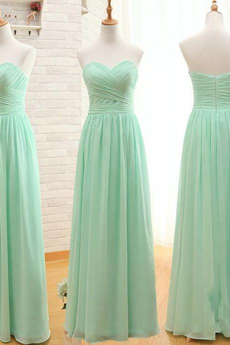 Simple Sweetheart Mint Green Bridesmaid Dress,A line Chiffon Bridesmaid Gowns