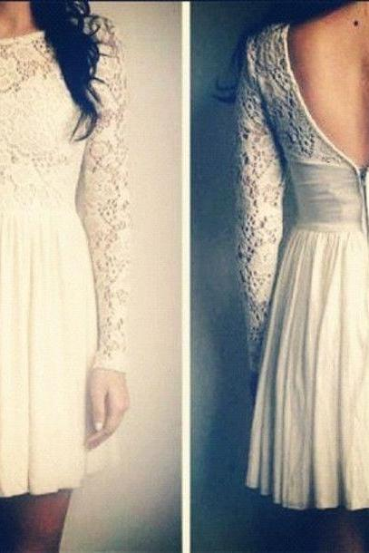 Lace sleeves prom dress,short prom dress,long sleeves prom dress,homecoming dress L307
