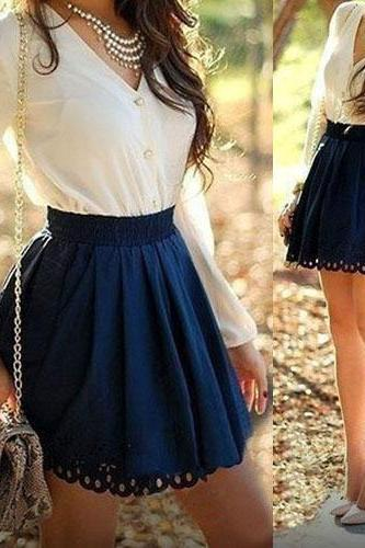 Fashion V-neck Patchwork Long Sleeves Blue Polyester A Line Mini Skirt