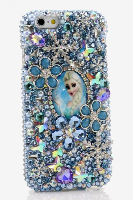 Bling Crystals Phone Case for iPhone 6 / 6s, iPhone 6 / 6s PLUS, iPhone 4, 5, 5S, 5C, Samsung Note 2, Note 3, Note 4, Galaxy S3, S4, S5, S6, S6 Edge, HTC ONE M9 (QUEEN ELSA OF ARENDELLE DESIGN) By LuxAddiction