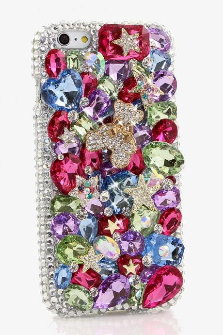 Bling Crystals Phone Case for iPhone 6 / 6s, iPhone 6 / 6s PLUS, iPhone 4, 5, 5S, 5C, Samsung Note 2, Note 3, Note 4, Galaxy S3, S4, S5, S6, S6 Edge, HTC ONE M9 (RAINBOW BEAR DESIGN) By LuxAddiction