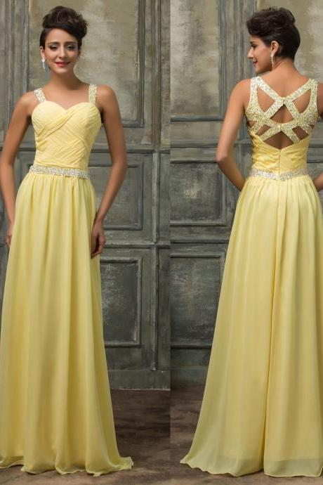 Sexy Beads Chiffon Evening Formal Party Cocktail Long Dress Bridesmaid Prom Gown