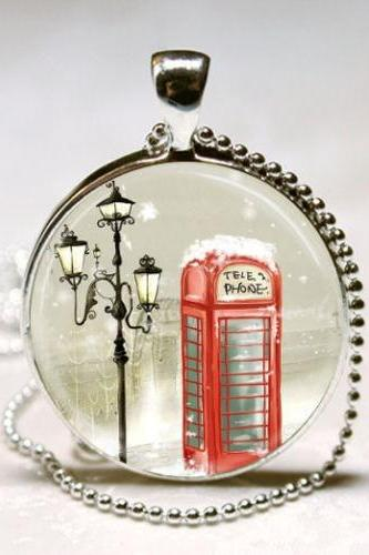 Red Telephone Box United Kingdom Phone Booth Winter Jewelry Art Pendant