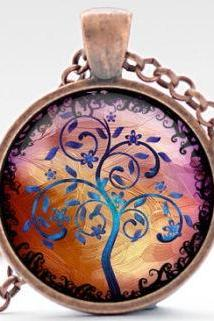 Tree of Life Necklace, Tree Art Pendant, Colorful Tree Necklace