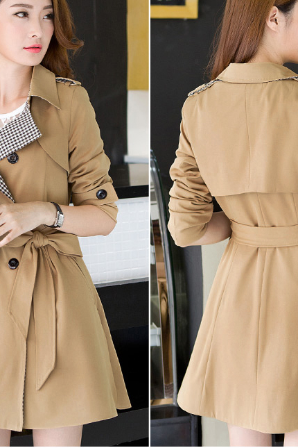 Fashion female long-sleeved overcoat double-breasted trench coat of cultivate one's morality FGG