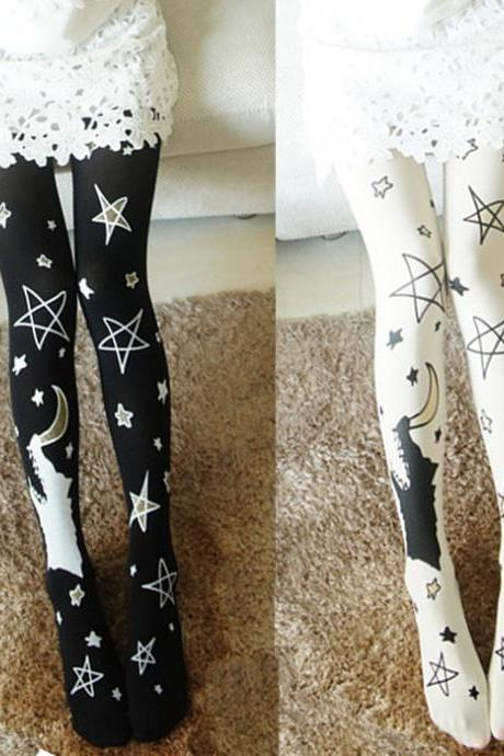 Moon Pattern Tights