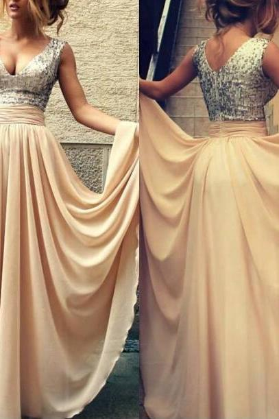 Full Length V-neckline Sequins Prom Dress , Champagne Sequins Bridesmaid Dress ,Sexy Sequins Evening Dress