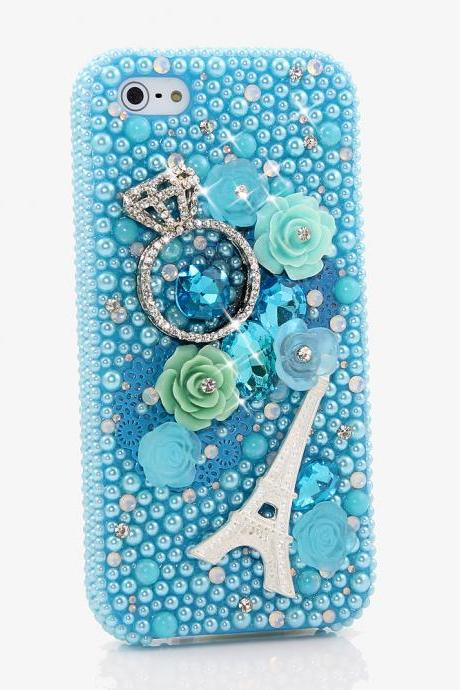 Bling Crystals Phone Case For IPhone 6 / 6s, IPhone 6 / 6s PLUS, iPhone 4, 5, 5S, 5C, Samsung Note 2, Note 3, Note 4, Galaxy S3, S4, S5, S6, S6 Edge, HTC ONE M9 (THE DIAMOND RING DESIGN) By LuxAddiction