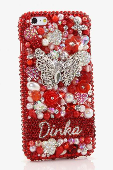 Bling Crystals Phone Case for iPhone 6 / 6s, iPhone 6 / 6s PLUS, iPhone 4, 5, 5S, 5C, Samsung Note 2, Note 3, Note 4, Galaxy S3, S4, S5, S6, S6 Edge, HTC ONE M9 (RED GARDEN PERSONALIZED NAME & INITIALS DESIGN ) By LuxAddiction