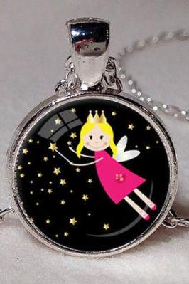 CHILDRENS FAIRY NECKLACE Fairy Pendant Child's Jewelry Black Pink Yellow