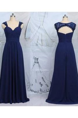 navy bridesmaid dresses, cap sleeve bridesmaid dresses, long bridesmaid dresses,chiffon bridesmaid dress, Custom bridesmaid dresses
