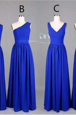 New 2015 Custom Made Royal Blue Long Chiffon Bridesmaid Dress/Wedding Party Dress/Long Bridesmaid Dresses
