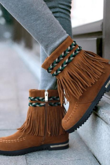 Women's Pure Color Hidden Heel Round Toe Suede Cross Strap Tassels Boots With Side Zippers