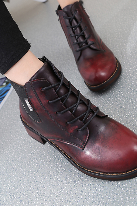 Women's Brush Leather kitten Heel Round Toe Cross Strap Warm Velvet Dr.Martens Boots With Side Zippers