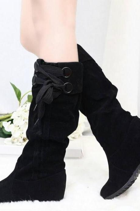 Women's Pure Color Hidden Heel Round Toe PU High Boots With Silk Ribbon