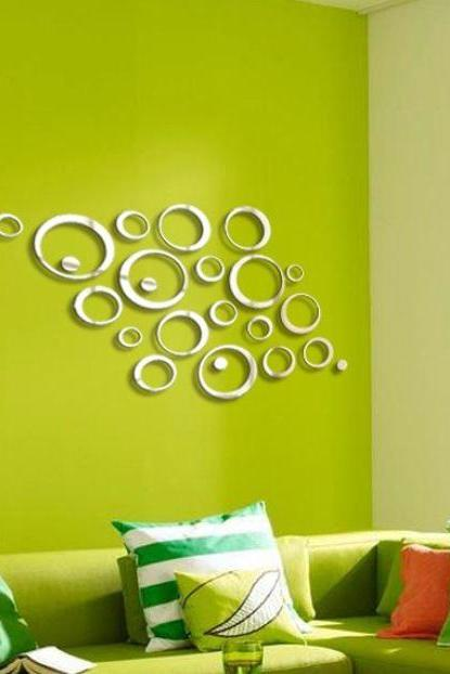 Home Decor Circles Mirror Style Removable Decal Vinyl Art Wall Sticker Removable Wall Decor