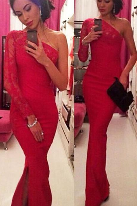 Gorgeous Red One Shoulder Long Dress with Lace Detail