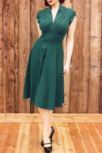 Vintage Inspired V Neck Green A Line Dress