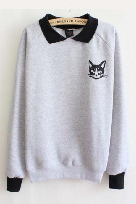 Cute Cat grey sweater