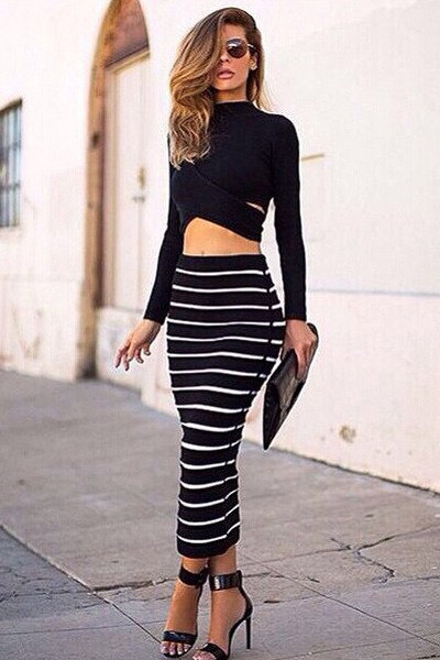 Sexy Turtleneck Long Sleeves Striped Black Two-piece Dress