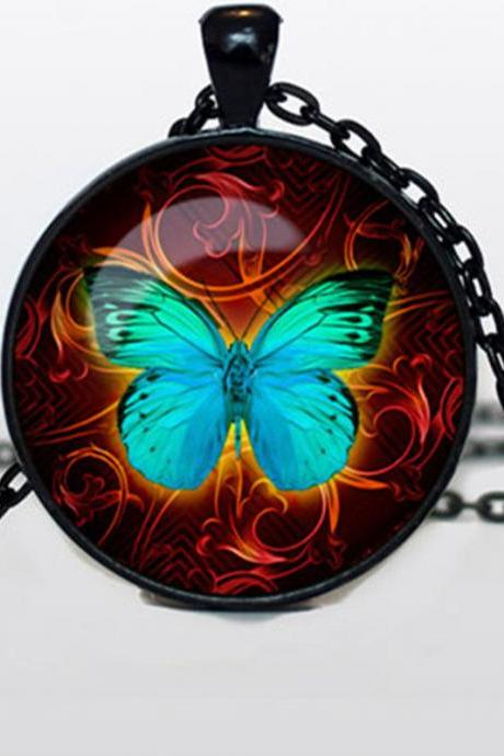 BUTTERFLY PENDANT Butterfly jewelry Butterfly Necklace Turquoise neon Aqua