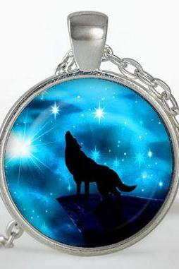 Wolf Pendant, Wolf Necklace, Silver plated pendant, Wolf Jewelry