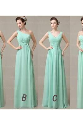 Mint bridesmaid dresses, cheap bridesmaid dresses, chiffon bridesmaid dresses, long bridesmaid dress, Custom bridesmaid dresses