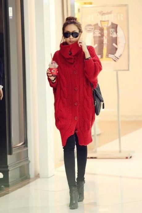 Han edition thick twist long sweater and coat-red