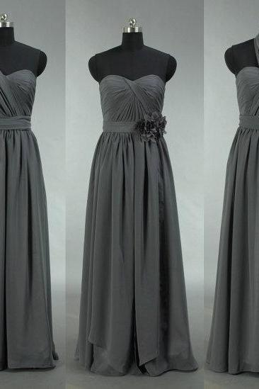 Grey Bridesmaid Dress, Long Convertible Chiffon Bridesmaid Dress, Long Prom Dress, Chiffon Wedding Dress