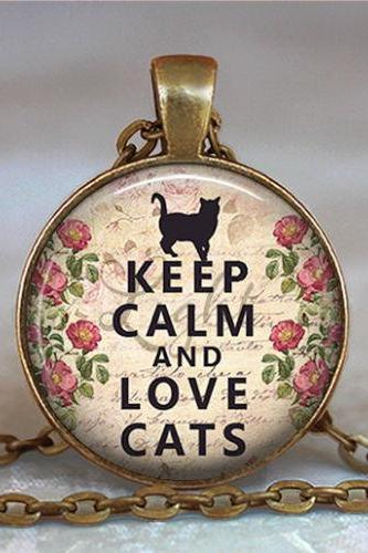 Keep Calm and Love Cats necklace, cat lover gift, cat lover jewelry, cat